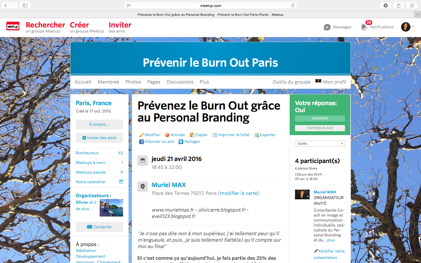 Prendre soin de son image et de son discours pour empêcher le Burn Out -  inscription sur :  http://www.meetup.com/fr-FR/Prevenir-le-Burn-Out-Paris/events/230316090/